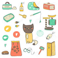 Cute hand drawn doodle cat stuff, objects including cage, mice toy, ball,