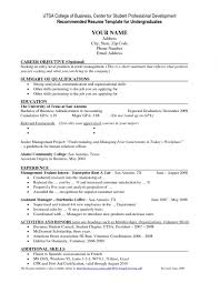 Resume Sample College Student Resume Template An Undergraduate Cv