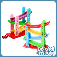 Đồ chơi trí tuệ mô hình cầu trượt ô tô gỗ cho bé vui chơi vận động