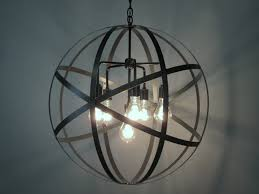 6 light antique black iron orb chandelier for modern kitchen lighting decoration