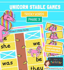 Tricky words 3 tricky words 3. Phase 3 Tricky Words Unicorn Stabling Game Mrs Mactivity