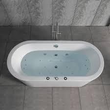 woodbridge 67 x 32 whirlpool water jetted and air bubble freestanding bathtub b 0030 bts1606 woodbridge