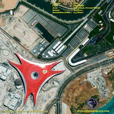 The white launch roller coasters will supposedly be the fastest in the world, the smaller, grey one a dueling coaster featuring ferrari vehicles. Geoeye 1 Satellite Image Of Ferrari World Satellite Imaging Corp