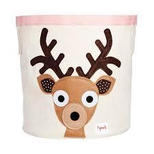 3 Sprouts Deer Canvas Toy Storage Bin