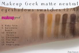 makeup geek neutral matte eyeshadows baby face barcelona beach brownie points adee