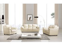 modern 3pcs cream italian leather sofa loveseat chair
