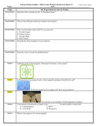 Weekly Homework Weekly Homework Sheet Mrs Kathy Spruiell At School