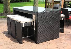 7 piece black resin wicker outdoor furniture bar dining set blue cushions com