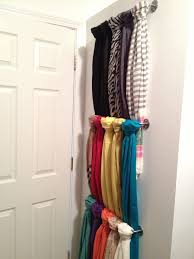 unusable wall behind the door in my closet = perfect scarf storage