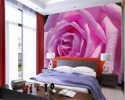 Beibehang Nach Foto Tapete Blühende Wasser Tropfen Rosa Rose Blume