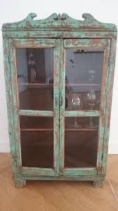 vintage distressed wooden display cabinet reduced