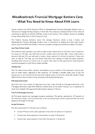 meadowbrook financial mortgage bankers corp know about fha loans related presentations