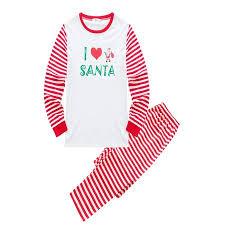 Efinny Asian Size Christmas Family Matching Pajamas Set I Love Santa Adult Dad Mum Kid Sleepwear