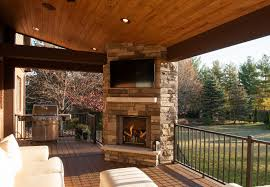 outdoor fireplace with tv above designs