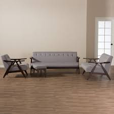 Walnut Furniture Living Room Baxton Studio Enya Mid Century Modern Walnut Wood Grey Fabric 4