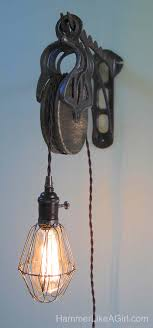 pulley lighting. Diy Light, How To Make A Light Fixture, Interior Design, Salvage Pulley Lighting L