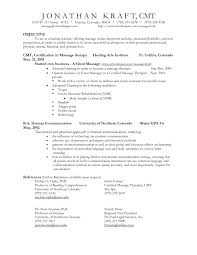 Massage Therapy Resume Objectives Inspiration Sales Resume