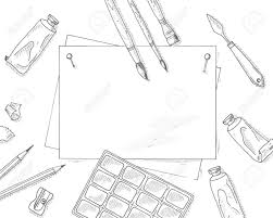 office drawing tools. Art Tools Mockup. Background. Artist Quipment Sketch Mockup: Brushes, Paper Sheet, Office Drawing I