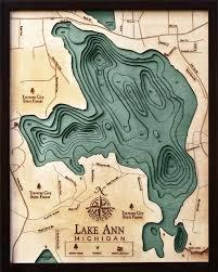 Lake Ann Traverse City 3 D Nautical Wood Chart 16 X 20