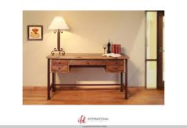 ... Solid Pine Wood Rustic 5 Drawer Writing Desk with Metal Legs in  Multi-colored Finish ...