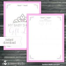 Printable Bridal Shower Gift List Template Baby Shower Guest List Printable Printable Baby Shower Guest