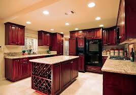 Cherry Kitchen Cabinets Natural Stone Ceramic Flooring Green Couch