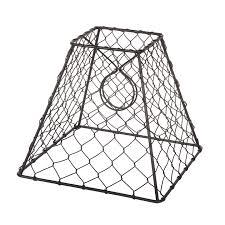 Clip on chicken wire l shade square black 8 inches