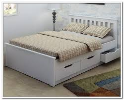 white wooden double bed with storage design decoration