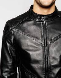 lyst barneys originals barney s leather shoulder patch biker jacket in black for men