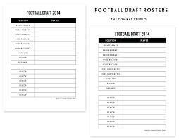 3 Blank Roster Sheet Fantasy Football Draft Team Template Free