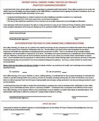 Hipaa Consent Forms Custom 44 HIPAA Consent Form Samples Sample Templates