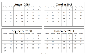 November Through November Calendars Four Monthly August To November 2018 Calendar Template Free