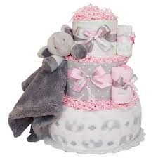 Cute Little Elephant Jungle Girl Diaper Cake 12400 Diaper