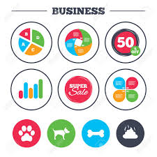 Chart Dog Graph Business Pie Chart Growth Graph Pets Icons Dog Paw And Feces