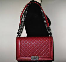 chanel le boy. authentic chanel red caviar leather le boy bag