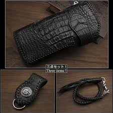 black genuine crocodile skin leather biker wallet silver concho leather strap wild hearts leather silver id lw3149
