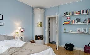 Blue bedroom interior design with simple bookshelf Interior Design
