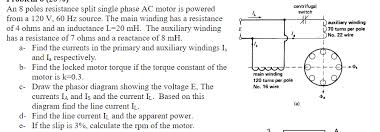 centrifugal switch an 8 poles resistance split single phase ac motor is powered from a 120