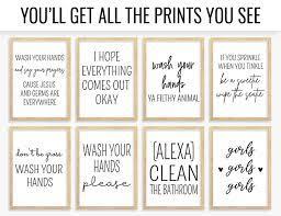 Bathroom Wall Art Prints Set Funny Bathroom Printable Signs Rules Art Black And White Cheap Decor