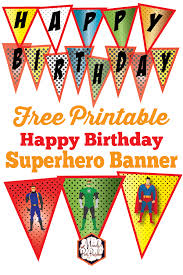 Birthday Banner Printable Free Superhero Happy Birthday Banner