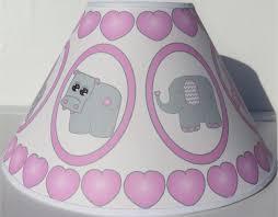description pink baby safari lamp shade with elephants