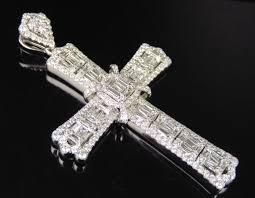 men s baguette diamond 14k white gold cross pendant designer charm 5 ct 2 5