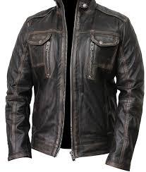 waxed detailed mens black vintage biker jacket mens waxed detailed black café racer multi pockets biker leather jacket