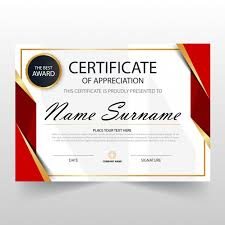 Best Certificate Templates Red Horizontal Certificate Template Vector Free Download