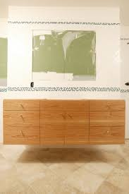 Diy Floating Bathroom Vanity Floating Black Wooden Vanity With Double White Sink Combined With