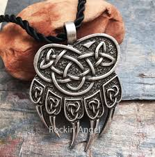 details about antique silver plt norse bear paw claw pendant necklace las mens gift viking
