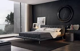 modern bedroom black. Modern Bedroom With Black Wall And Bed Poliform Onda D