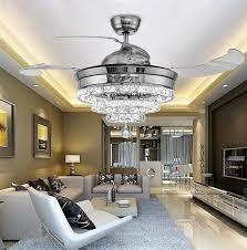 modern 3 rings led invisible retractable crystal fan light living room lights restaurant led fan chandelier bedroom pendant lighting