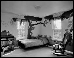 breathtaking small kids black and white bedrooms design with black trees wall decal on white wall color as well as rocking stairs wood panels and custom