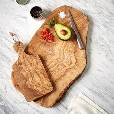 cutting board with food. Olive Wood Rustic Cutting Board With Food